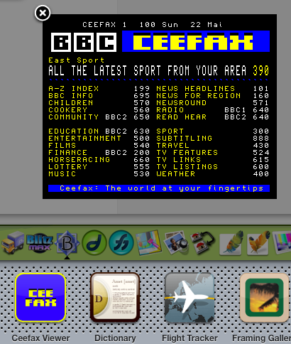 Ceefax Viewer - widget for Mac OS X Dashboard